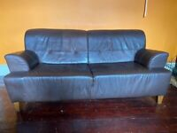 IKEA Retro Brown Leather Sofa