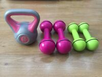 KETTLEBELL AND 2 SETS OF DAVINA MCALL DUMBELLS
