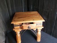 mexican pine rustic table with drawer