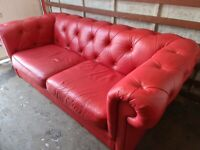 Leather Chesterfield Suite for sale (Club Chair & Three-Seater Sofa) (Delivery Available)