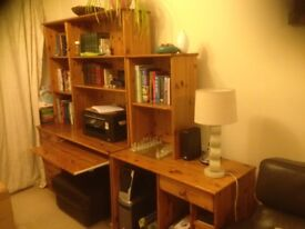 Solid pine desk, display and bookshelf unit