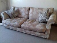 Sofa - 3 seater fabric neutral colour, good condition