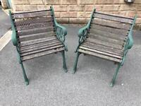 Heavy victorian styled garden chairs.