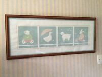Nursery print showing all 4 seasons of the year. Duck egg blue in colour