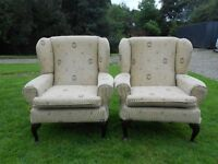 2 Wingback Cream Armchairs