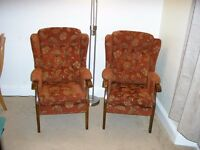 Two Matching Highback Armchairs.