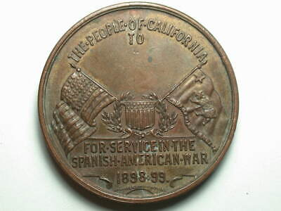 1898-1899 Spanish American War Service People Of CA 38mm Medal