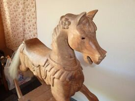 Pine Rocking Horse need some attention .