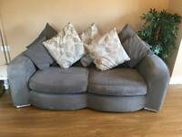 Grey Sofa & Snuggler For Sale