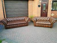 Chesterfield genuine leather 3+2 seater sofas. NEAR NEW! BARGAIN!