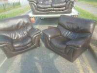 Dark brown leather sofa free delivery in hull area