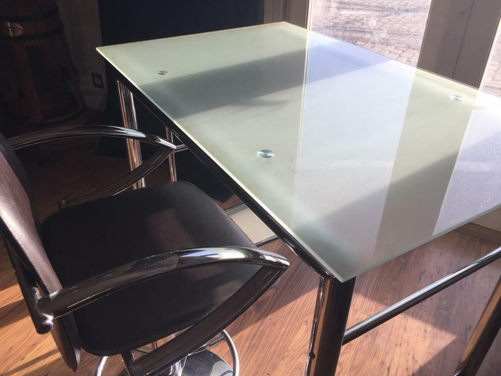Beautiful Executive Glass Desk Complete With Metal Adjule Height Stool