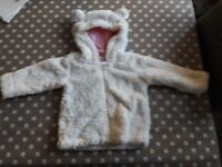 9-12 month cream, fleecy cardigan
