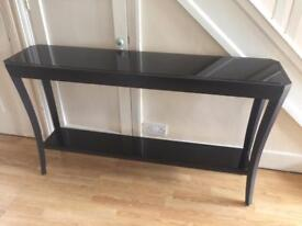RV Astley Hyde Console Table with Black Glass Ex Display