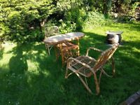 Vintage Wicker/Bamboo Conservatory Patio Furniture Table and Chairs