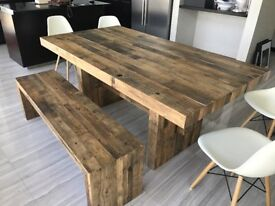 Beautiful West Elm Reclaimed Wood Dining Table and Matching Bench