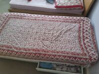 Single bed Diwan for Sale including mattress (With wheels and two built-inn storage compartments)