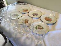 6 dessert plates and 6 wine glasses