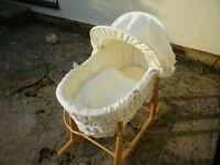 Moses Basket with Pine Rocking Stand