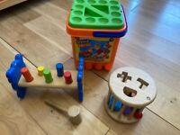 Toddler / Child's Toys Bundle: Wooden Shape Sorter, Stickle Bricks Tub & Wooden Hammering Set