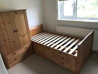 Single wooden bed with storage