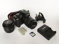 Canon EOS 450D 12.2 MP Digital SLR Camera - Black (Kit w/ 18-55mm Lens) + 50mm f.1.8 lens
