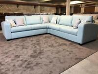 NEW/EX DISPLAY DFS CORNER SOFA BED DOUBLE SIDED TURQUOISE AQUA FABRIC BLUE MATTRESS