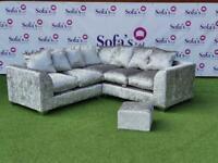 Brand new 2corner2 sofas jumbo cord, crushed velvet or plush velvet with footstool🔥😍✅
