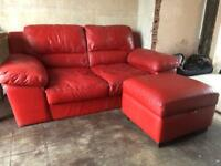 Red leather 2 seater sofa & pouf
