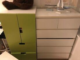 5 pieces ikea furniture , storage bench, wardrobe