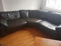 **Quick Sale** - Brown Leather Corner Sofa