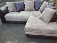 Fantastic BRAND NEW brown & beige cord corner sofa,can deliver
