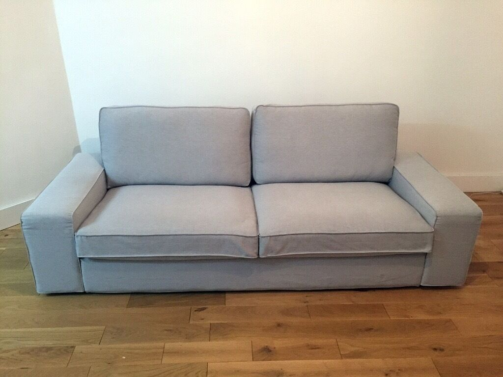Immaculate condition 3 seater ikea kivik sofa light grey for Ikea gray sofa