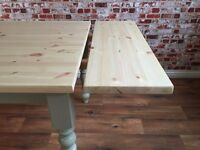 Stripped Pine Scrub Top Natural Farmhouse Pine Dining Table / Extending Extendable Table