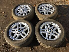 "For sale - BMW 3 series 15"" alloy wheels - good tyres"