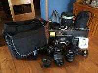 Nikon D5000 DSLR with 3 Lenses and Camera Bag