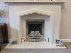Marble Fire Surround, Hearth and Gas Fire