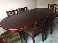 Dark Wood 6 Seater Extendable Dining Table and 6 Chairs
