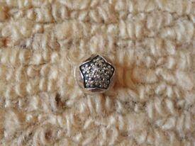 Pandora Barrel Clasp Bracelet Star with Tiny Flowers inside Spacer Clip Charm Jewellery Gift Idea