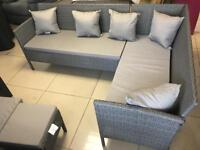 Brand New 8 Seater Rattan Effect Grey Corner Sofa .