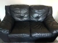2&3 seater black real leather sofa