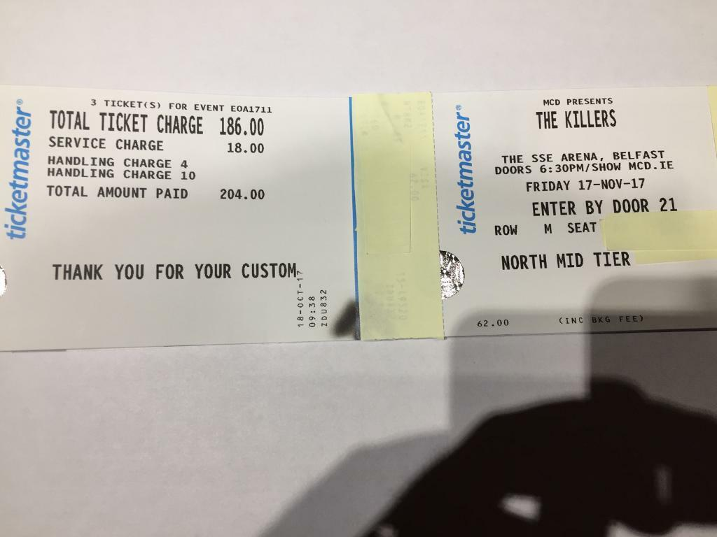 3x The Killers Seated Tickets Belfast - £150 (RRP: £204)