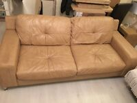 Tan leather 4 seater sofa x2 with matching footstool
