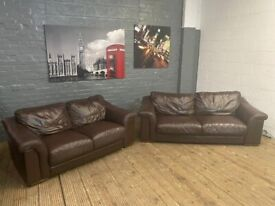 REAL LEATHER 3 & 2 SOFA SET IN GOOD CONDITION VERY COMFY CAN DELIVER