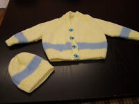 Beautiful hand knit new baby set cardigan and hat yellow with blue stripe