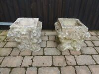Old Weathered Concrete Planters with nice detail
