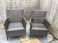 Rattan outdoor garden chairs x 2, very nice quality, excellent condition