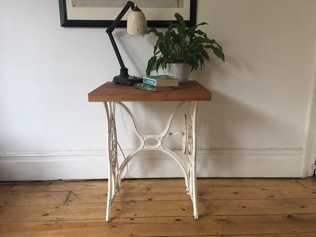 Vintage Cast Iron Singer Sewing Table Reclaimed Walnut Top