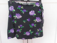 Black/purple floral wraparound beach skirt Size 14-16