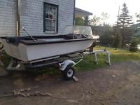 14ft fibreglass boat with trailer